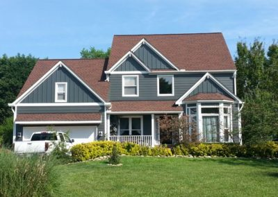 Hardiplank siding iron grey. New vinyl replacement windows